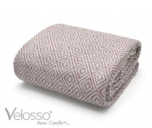 100% Pure Cotton Throw Luxury Diamond Woven Check Sofa Bed Throwover Blush Pink